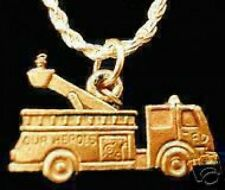 LOOK Gold Plated Fire fighter Department Truck Charm Jewelry