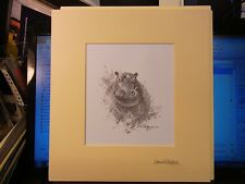 David Shepherd TWICE SIgned MINT Worlds most famous wildlife artist Hippo water