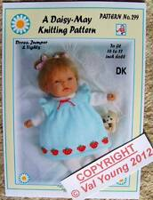 DOLLS KNITTING PATTERN no. 299 for BABYBORN 0r similar size doll by Daisy-May.