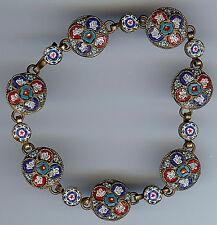 VINTAGE ITALY BRASS RED BLUE WHITE MICRO MOSAIC FLORAL BRACELET FOR LARGE WRIST
