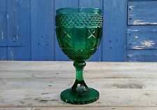 Antique Victorian Sowerby Green Pressed Glass Goblet Chalice