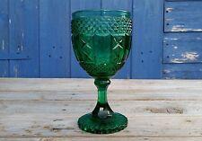 Antigua victoriana Antique Victorian Sowerby Verde Vidrio Prensado Copa Cáliz