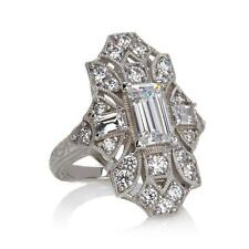 STERLING SILVER & DIAMOND SIMULANT ART DECO VINTAGE STYLE MOVIE STAR RING 6