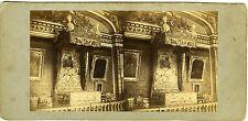 PHOTO vue stéréo VERSAILLES Chambre à coucher de Louis XIV tirage albuminé 1860