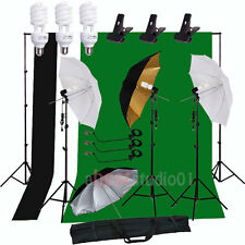 Photo Studio Lighting Photography Backdrop Umbrella Light Background Stand Kit