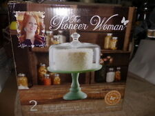 "New The Pioneer Woman 10"" Jadeite Glass Cake Stand with Cover Glass"