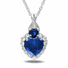 Sterling Silver Diamond And 2 7/8 CT Blue White Sapphire Heart Pendant Necklace