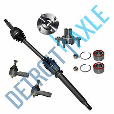 Front Passenger CV Axle Shaft + 2 Tie Rod End + 2 Wheel Hub and Bearing Assembly