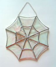 New Rose Quartz Spiders Web Stained glass Panel suncatcher gemstone Gift