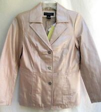 QVC..DIALOGUE..LIGHT TAN..GENUINE LEATHER..CLASSIC..JACKET..NEW w TAGS..sz S/M