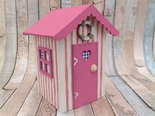 Beach Hut Pink Striped With Real Shell & Lifebuoy Ring Seaside Theme Wedding