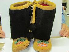 NATIVE AMERICAN  BEADED  MUKLUKS 9 INCHES LONG HAND MADE MOOSE HIDE FLOWER VAMP