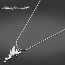 Stunning Silver Plated Diamante Encrusted Fairy Drop Necklace