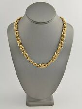 70s 80's VINTAGE Jewelry MONET TEXTURED GOLD METAL CHAIN NECKLACE - 19""