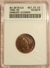 1880 CORONET $5 HALF EAGLE GOLD COIN ANACS AU DETAILS NET EF 40 DAMAGED CLEANED