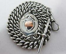 Fine Antique Chester Silver Albert Pocket Watch Chain & Fob 62g 1927 Steampunk c