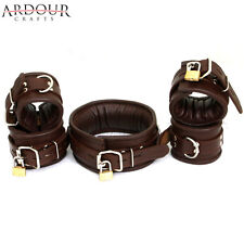 Real Leather Padded Wrist, Ankle Cuff & Neck Collar Set of 5 Restraint Lockable