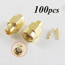 """100x SMA Male Plug Solder For Semi-Rigid RG402 0.141"""" Cable RF Connector adapter"""
