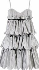 0 XS Authentic MARC BY MARC JACOBS Silk Striped Tiered Ruffle Sweet Bow DRESS