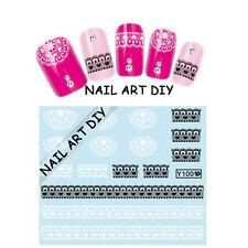 Adesivi per unghie con Pizzo Nero-Bianco-Nail Art Stickers-Decals water transfer