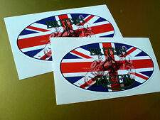 BRITISH CAFE RACER Classic Vintage Motorcycle Helmet Car Stickers 2 off 100mm