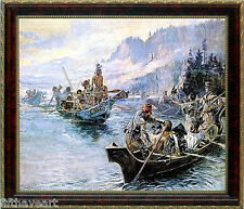 Lewis and Clark on the Lower Columbia Charles Marion Russell Framed  Art Print