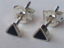 STERLING SILVER & BLACK ONYX TRIANGULAR SMALL 3mm. STUD EARRINGS only £5.50 NWT