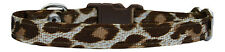 "fabric brown and  cream leopard print chihuahua dog puppy collar 6""-8"" xs"