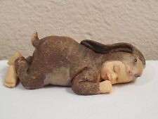 """Vintage Hand Crafted Sleeping Baby Wearing A Rabbit Suit Figurine ~ 4 3/8"""" Long"""