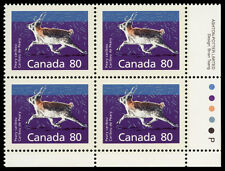 Canada  #1180c   VF NH 80c Peary Caribou, Perf 14.4 x 13.8. Imprint block of 4