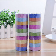 10pcs Glitter Washi Paper Adhesive Tape  Craft Sticker Masking Decor 1.5cmx3mOWl