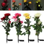 Solar Powered 3LED Rose Flower Stake Garden Night Light Lamp Outdoor Party Decor
