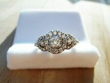 $2500 .75 CT CARAT 14K WHITE GOLD DIAMOND HALO ENGAGEMENT WEDDING RING