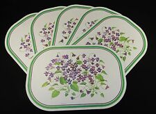 """Dining Table Placemats ~ Vinyl, Set of 6, """"Bunches of Violets"""" Pattern, 17""""x11"""""""