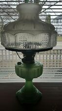 Vtg 1934 ALADDIN Jadite Green Moonstone CATHEDRAL Oil Lamp #501 Frosted SHADE