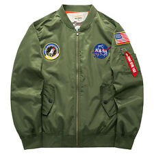 Man's US NASA MA1 Pilot Bomber Jacket Flying Tigers Flight Thin Collar Coat