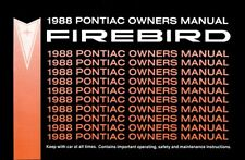 1988 Pontiac Firebird Trans Am Owners Manual User Guide Operator Book Fuses OEM