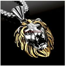 *30.6g Lion head Gold&silver color pendant silver chain stainless steel fashion