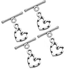 50pcs Antique Silvery Alloy Heart IQ Toggle Clasps Findings Jewellery Charms LC