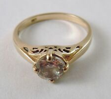 100% Genuine Vintage 9ct Solid Yellow Gold Filigree Solitaire CZ Ring Sz 6.5 US