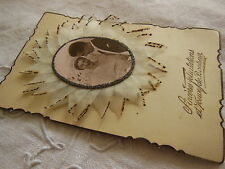 Superbe carte postale ancienne tissu broderie relief  mariage collection