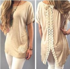 Fashion Womens Summer Vest Top Short Sleeve Blouse Casual Tank Tops T-Shirt Lace