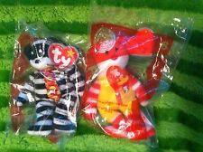 2004 McDonalds 2 Pc Lot Ty Bear Ronald McDonald Hamburglar 25 Years New In Pack