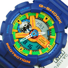 CASIO MEN'S BLUE RESIN BAND GSHOCK WITH GREEN DIAL GA110FC-2A