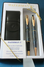 Waterman Reflex Fine Fountain Pen & Ballpoint, Blue Marble with Gold Trim