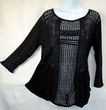 Lucky Brand Women's L Black Mixed Lace Contrast Top Blouse Tee Shirt NEW NWT