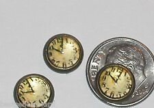 1pc Miniature dollhouse tiny Time Clock bubble beads flat backs findings 10mm
