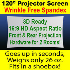 "120"" (10 foot) Spandex Projector Screen - Total DIY Kit, Portable, 3D, Backlight"