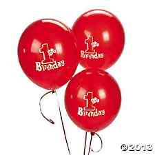 1st Birthday Red Latex Balloon 11in 12 pc party supplies (70/8866)