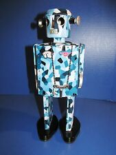 ATOMIC MAN, LARGE BLUE & WHITE, CAMO. TIN WIND-UP ROBOT, LE # 00738, SCHYLL